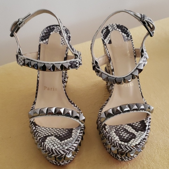 separation shoes c0636 ea1c2 Christian Louboutin Snake-Print Leather Wedge